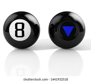 Magic ball. Eight. 3D Illustration