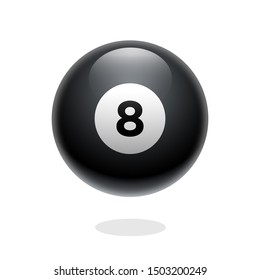 Magic ball of predictions for decision-making. Realistic black sphere. Magic 8 ball. Eight ball. Glossy shiny ball with number 8. Billiard game. 3D illustration.