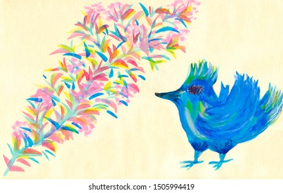 Magic blue bird with magic plant (watercolor) on textured paper in jpeg