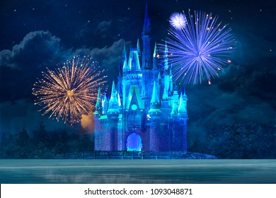 MAGIC BLUE ICE CASTLE WITH FIREWORKS AND CLOUDS