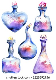 Magic bottles set, alchemical equipment, white background, hand drawn watercolor painting