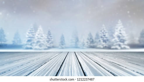 magic calm winter forest with wooden deck front at daylight, winter nature 3D scene copy space background illustration rendering