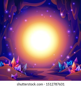 Magic cave. Fairy landscape of a cave with crystals and mystery lights. Fantasy background. illustration