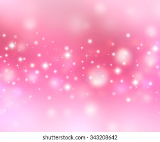 Magic Christmas lights sparkling snow background with stardust and shining stars. Pink white love Holiday postcard concept with space for text. Defocused pink bokeh lights wallpaper. Valentine's Day.