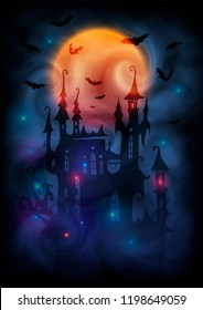 Magic colors giant full moon, witch castle dark silhouette, bats and mystic lights in fog. Halloween poster background.