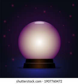 Magic crystal ball. Glowing on a dark background. An element for fortune telling and clairvoyance.