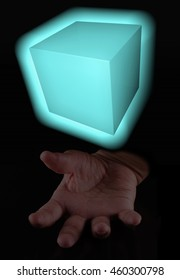 Magic cube over male hand, vertical image, 3d rendering (cube)