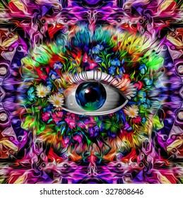 Magic eye over futuristic colorful background