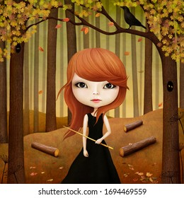 Magic fantasy tale illustration about girl with magic wand in the forest.