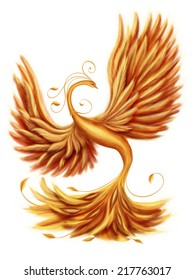 Magic firebird on a white background
