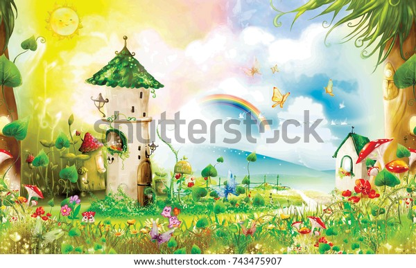 magic forest with fairy-tale cabin and the clearing.
