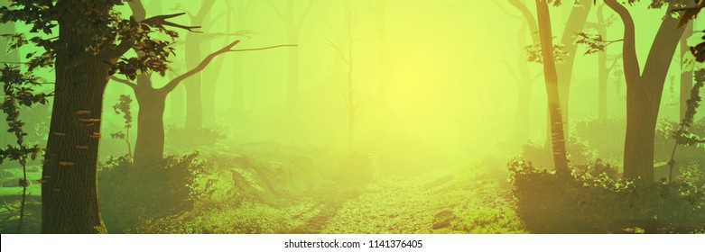 magic forest at sunrise, sunshine in beautiful landscape, 3d illustration banner
