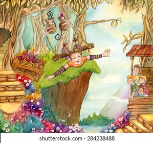 Magic Forest - Watercolor illustration of a whimsical forest with a girl and monkeys swinging, and a group of children admire her from the other side.