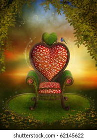 Magic garden with a fairy heart throne and flowers