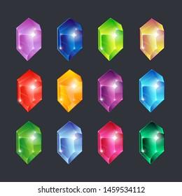 Magic gems. Gem stones jewels diamonds gemstone emerald ruby sapphire glance clear glass brilliant isolated  cartoon icons set