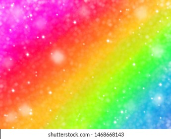 Magic glitter rainbow abstract background. Paint like sparkle unicorn for holiday party ombre style