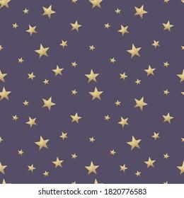 Magic Golden, Stars On Dark Blue Background Glitter Seamless Pattern Digital Paper 12' x 12' high resolution 300 dpi smyk