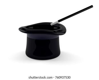 Magic hat isolated on white background. 3d illustration