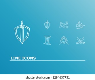 Magic icon set and pirate with ship, quest list and princess. Vessel related magic icon  for web UI logo design.