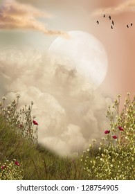 Magic landscape moon with flowers and birds