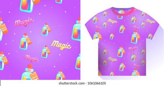 The magic mana of a unicorn seamless pattern. Rainbow liquid with star in the bottle.  cartoon illustration
