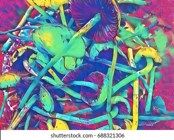Magic mushroom rainbow tone digital illustration. Mushroom with thin stipe and wide pileus. Shroom hallucination. Non-edible mushrooms with hallucinogen effect. Toadstool mushroom pile fantastic image