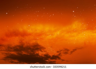 Magic orange sky background