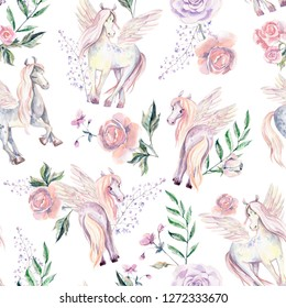 Magic Pegasuses in seamless pattern. Watercolor illustration, beautiful isolated pony with flowers. Romantic pastel colors.