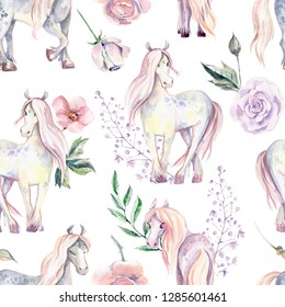 Magic Pony seamless pattern. Watercolor illustration, beautiful isolated pony with flowers. Romantic pastel colors.