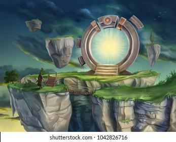 Magic portal in a surreal landscape. Digital illustration.