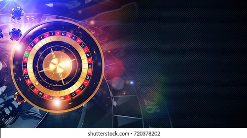 Magic Roulette Game Banner Concept. 3D Rendered Illustration. Roulette Wheel and Casino Chips.