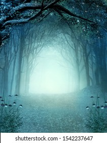 Magic secret passage in a mystic autumnal foggy woodland – 3D illustration