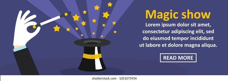Magic show banner horizontal concept. Flat illustration of magic show banner horizontal concept for web