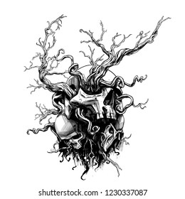 Magic skull entangled with roots