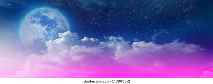 Magic sky background with beautiful moon shining among the stars on the big night sky as a blurred background for illustrations and background computer wallpapers.
