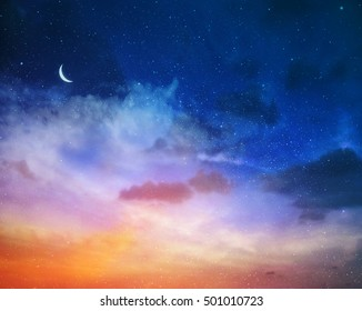 Magic sky background with stars and moon