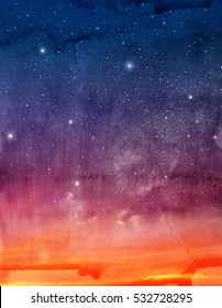 Magic sky background with stars. Watercolor