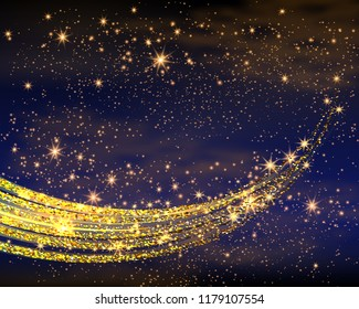 Magic Space. Fairy Dust. Infinity. Abstract Universe Background. Yellow Gog and Shining Stars