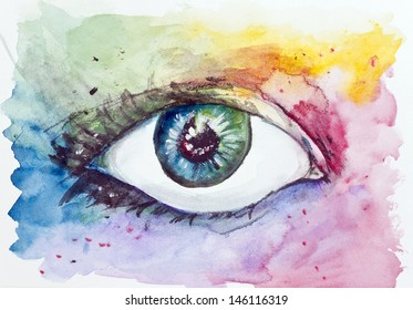 Magic Space fantastic eye concept. Handmade watercolor painting illustration on a white paper art background