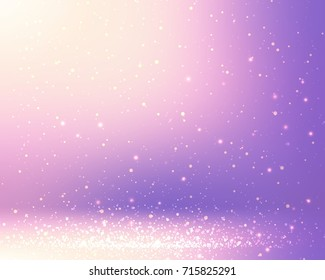 Magic sparkles on lavender defocused background. Blurred golden light on violet background. Lilac room abstract texture. Empty bokeh room background. 3D illustration