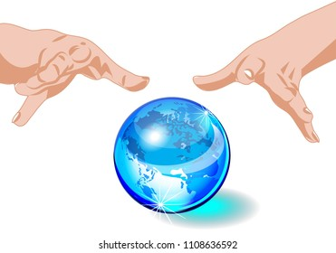 Magic sphere Crystal Ball blue planet Eath with hands, isolated on white background, mystic magic symbol,  Halloween concept raster illustration