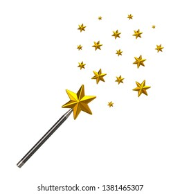 Magic star wand with stars 3d illustration isolated on white background