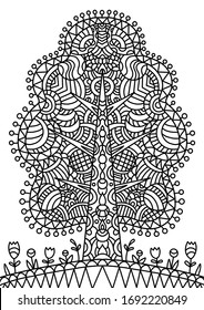 Magic tree coloring book for children and adults. Stylish ornaments. Dood and Zen, meditation, relaxation.