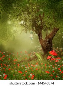 Magic tree with lanterns on a poppy meadow