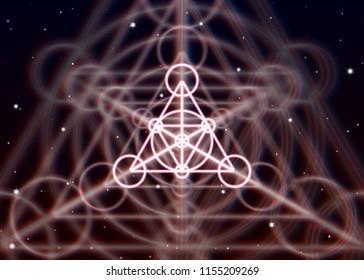 Magic triangle symbol spreads the mystic energy in spiritual space