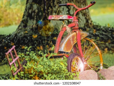 The magic tricycle whimsical illustration art paint photography art