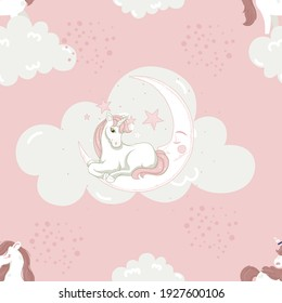 Magic unicorn or baby unicorn print - seamless pattern for kids room decor or baby shower or baby birthday card with cute clouds, rainbow, starts and moon
