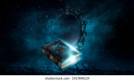 Magic vintage fantasy book on a dark background, magic mirror of predictions and fortune-telling, smoke, fog, neon moonlight in the dark. 3D illustration.