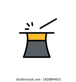 Magic wand, hat icon. Simple color with outline illustration elements of cultural activities icons for ui and ux, website or mobile application