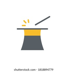 Magic wand, hat icon. Simple color illustration elements of cultural activities icons for ui and ux, website or mobile application